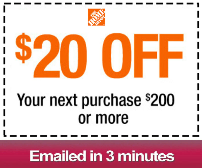 $2.49 • Buy One 1x Home Depot $20 OFF $200Coupon-INSTORE ONLY -Fast-Delivery--
