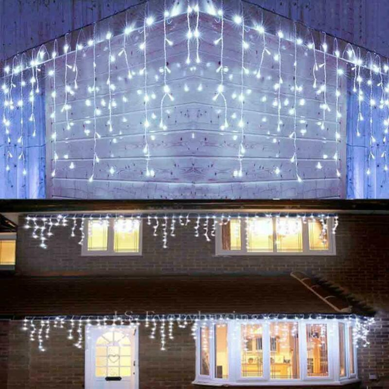 13-130FT Curtain Icicle Lights Wedding LED Fairy Christmas Indoor Outdoor Decor • 10.44$