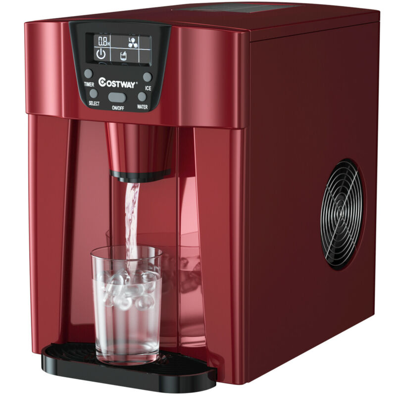 $174.95 • Buy 2 In 1 Ice Maker Water Dispenser Countertop 26Lbs/24H LCD Display Compact Red