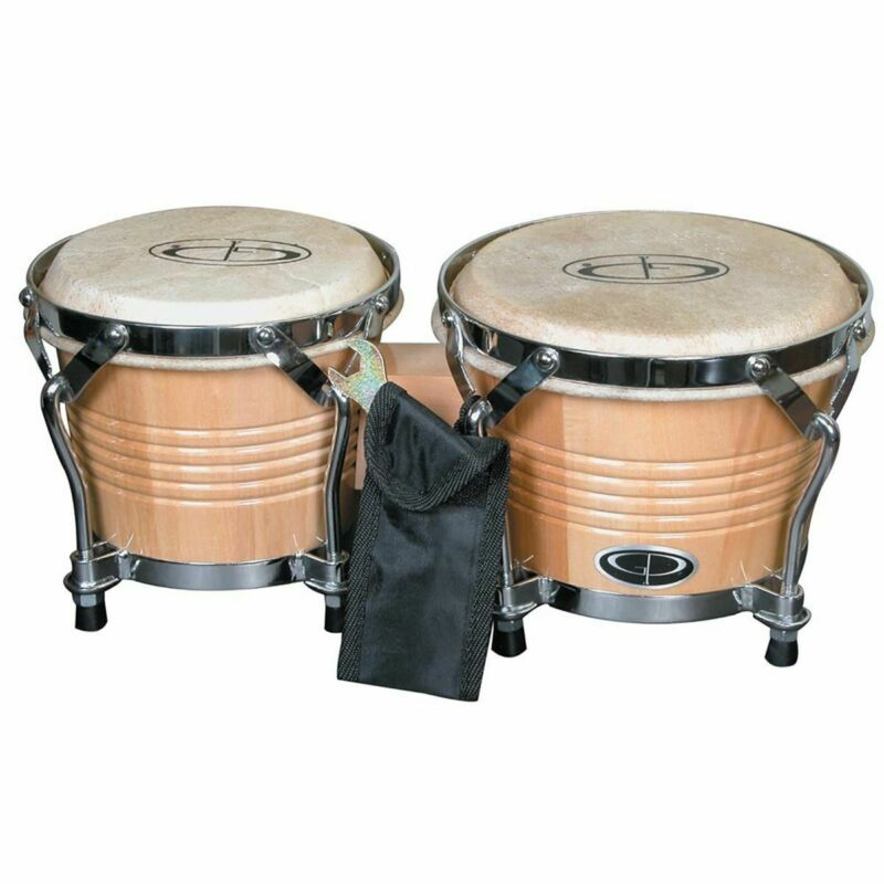 New GP Percussion B2 Pro Series Tunable 6  & 7  Solid Birch Bongos, Natural • 44.99$