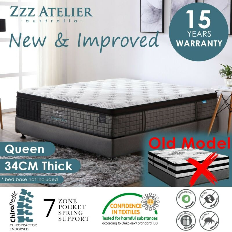 AU329 • Buy QUEEN Mattress *7 Zone Pocket Spring Mattress Latex Foam EuroTop *Chiro Endorsed