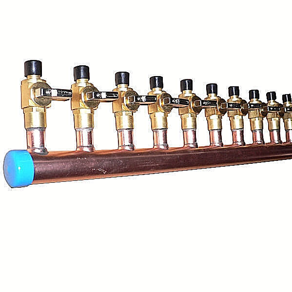 $131.66 • Buy 1  Copper Manifold 3/4  Pex Crimp Fitting (With & W/O Ball Valve) 2-12 Loops*