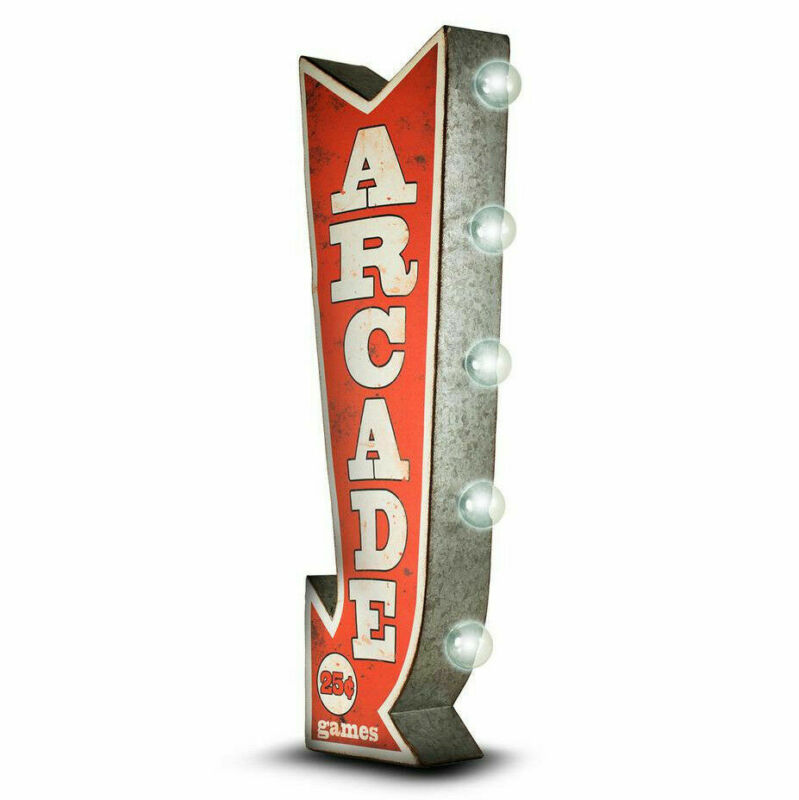 ARCADE Arrow Double Sided Sign W/ LED Lights Game Room Bar Man Cave Retro Red 3D • 54.99$