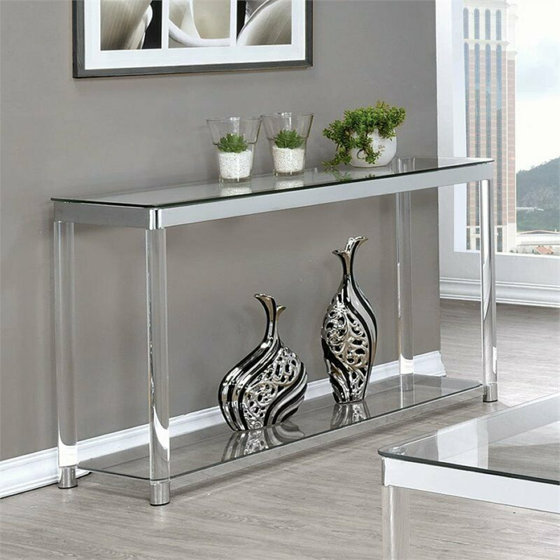 $237.95 • Buy Coaster 1 Shelf Glass Top Console Table In Chrome And Clear Acrylic