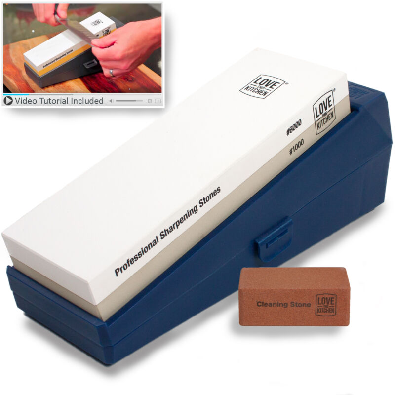 $29.95 • Buy Professional Knife Sharpening Stone Kit Grits 1000 6000 - Chef & Kitchen Knives