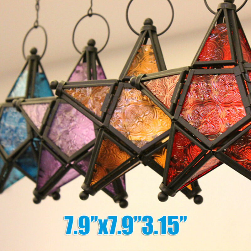 Moroccan Star Lanterns Lamp Hanging Light Candle Holder Home Garden Party Decor • 11.48$