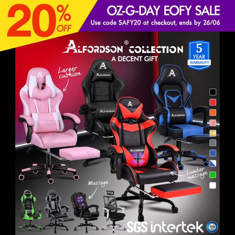 AU149.90 • Buy ALFORDSON Gaming Office Chair Racing Executive Footrest Computer Seat PU Leather