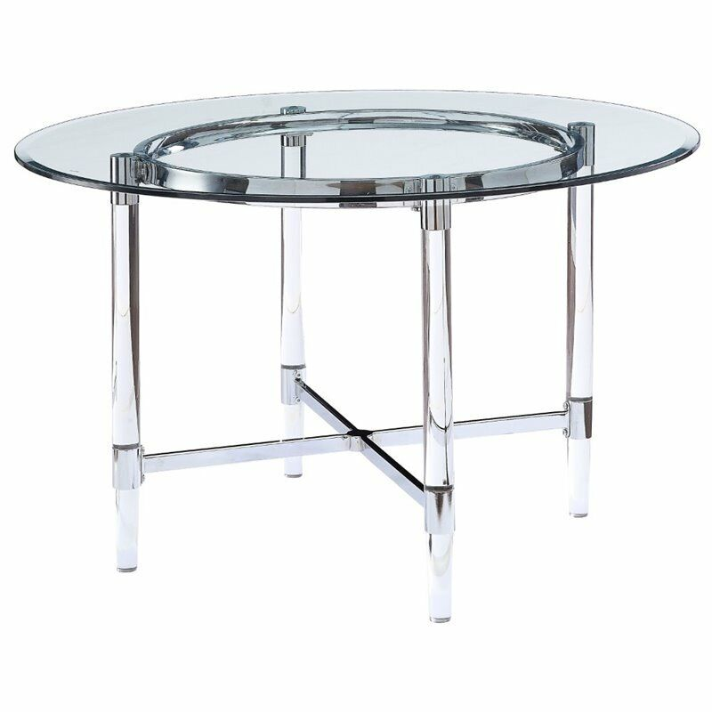 $604.82 • Buy ACME Daire Dining Table In Chrome And Clear Glass