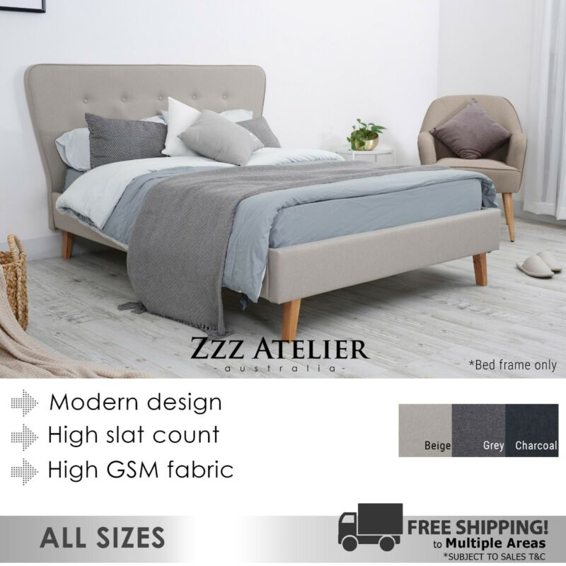 AU249 • Buy New SCANDI Queen Double King Single Size Fabric Bed Frame Charcoal Grey Beige