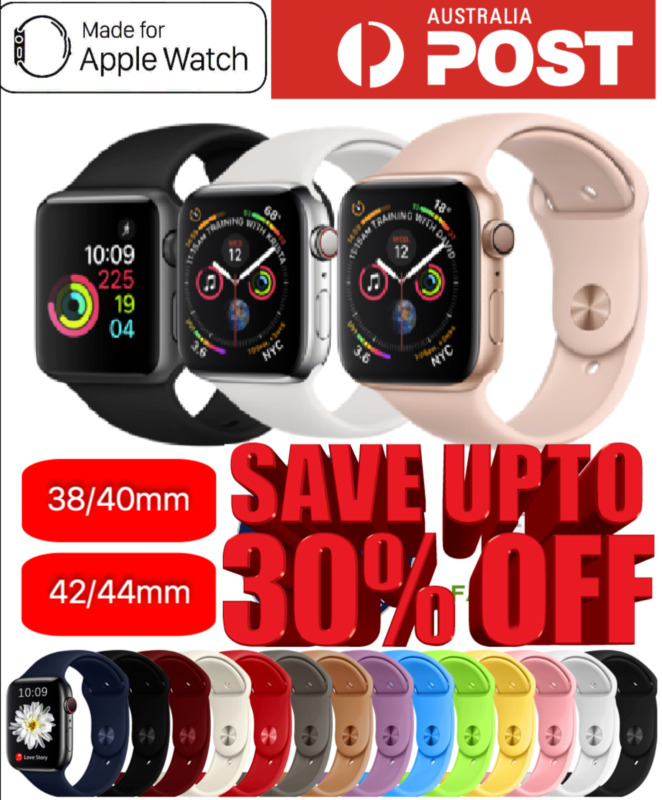 AU3.99 • Buy Apple Watch IWatch Series 1 2 3 4 5 Silicone Replacement Strap Band 38 40 42 44m