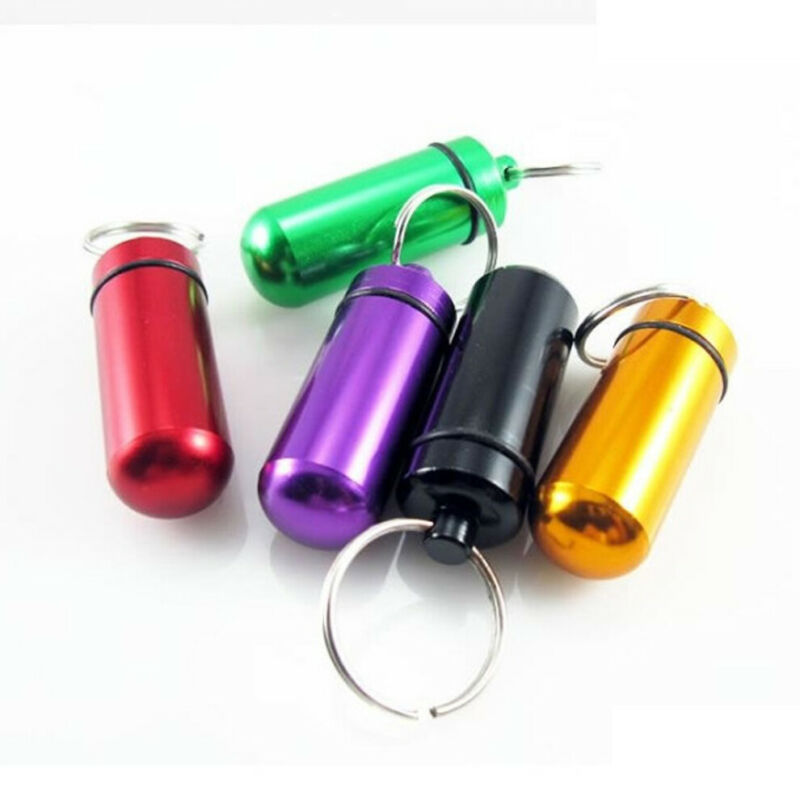 $0.75 • Buy Pill Medicine Box Case Holder Container Capsule Key Ring Keychain Waterproof