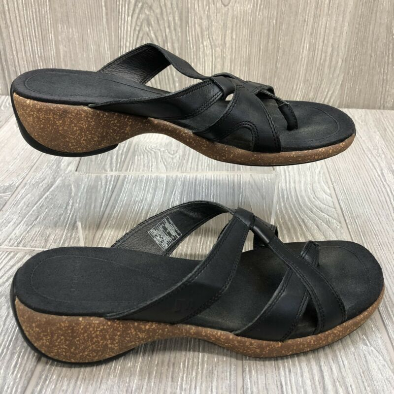 $24.99 • Buy Merrell Black Strappy Leather Thong Sandals Shoes Sundial Cross Women's 9M