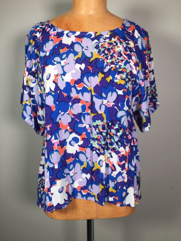 $ CDN35.95 • Buy Anthropologie Maeve Purple Blue Floral Print Boxy Square Dolman Top Size XS
