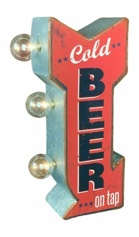 Cold Beer On Tap Arrow Shaped Double Sided Sign LED Lights Man Cave Bar Garage • 32$