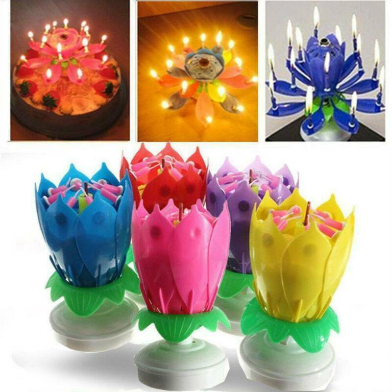 $ CDN3.06 • Buy Magic Cake Birthday Lotus Flower Candle Decoration Blossom Musical Rotating New