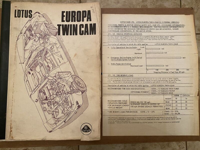 $ CDN182.76 • Buy Lotus Europa Twin Cam Workshop Manual A074T0348B & Rare Vehicle Safety Document