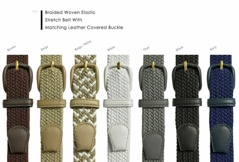 $7.19 • Buy Women's Leather Covered Buckle Woven Elastic Stretch Belt, 1-1/4  Wide
