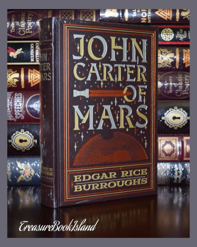 John Carter Of Mars By Edgar Rice Burroughs New Sealed Leather Bound Collectible • 48.64$