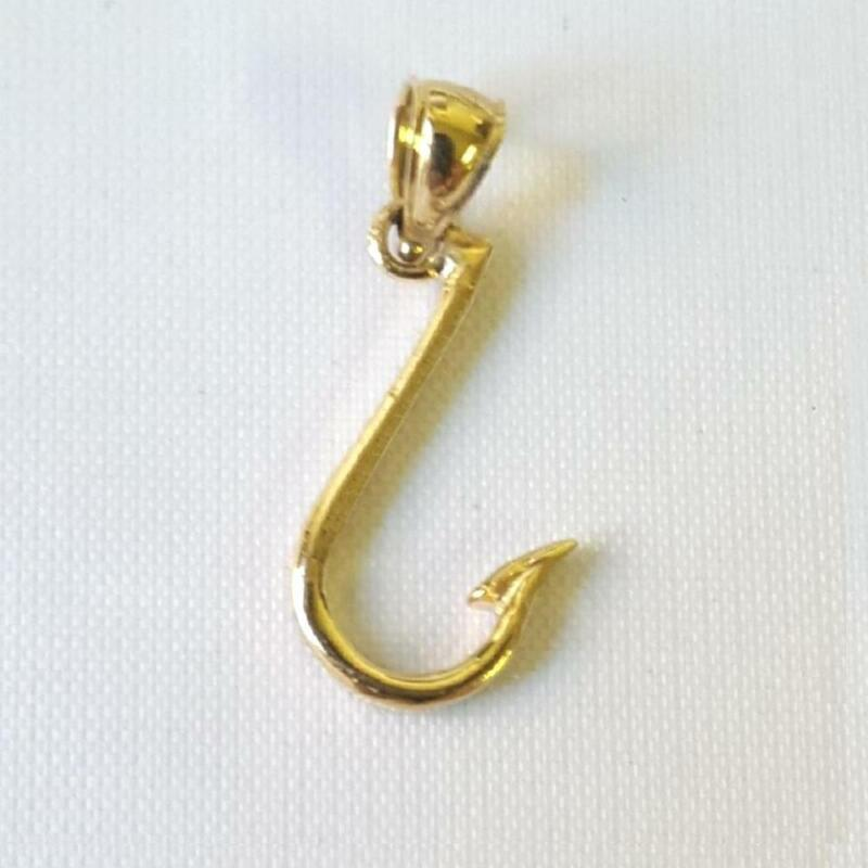 14k Yellow Gold FISH  HOOK Pendant / Charm, Made In USA • 62.99$