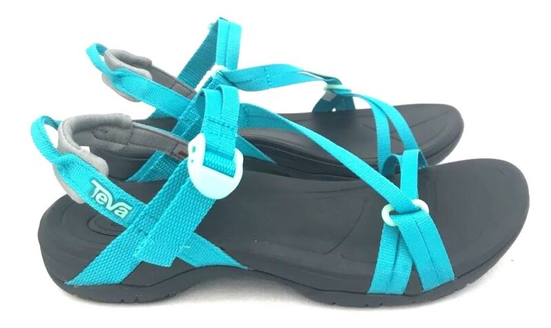 62bdcc9cc Teva Sirra Women s Hiking Lightweight Sport Sandals Black   Tile Blue Size  5-11 •