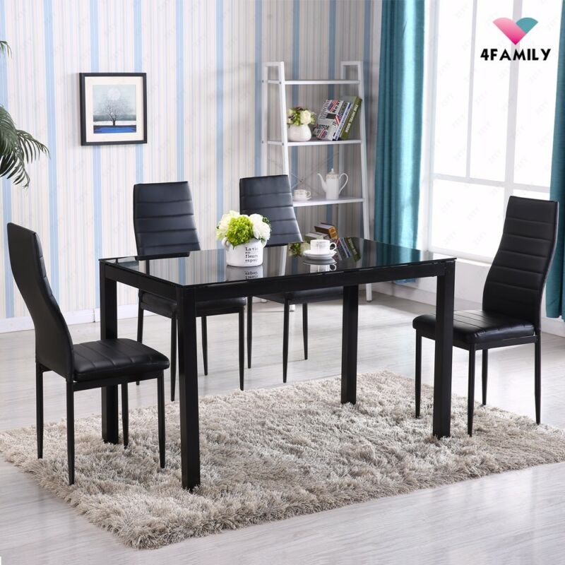 5 Piece Dining Table Set 4 Chairs Glass Metal Kitchen Room Breakfast Furniture • 72.90$