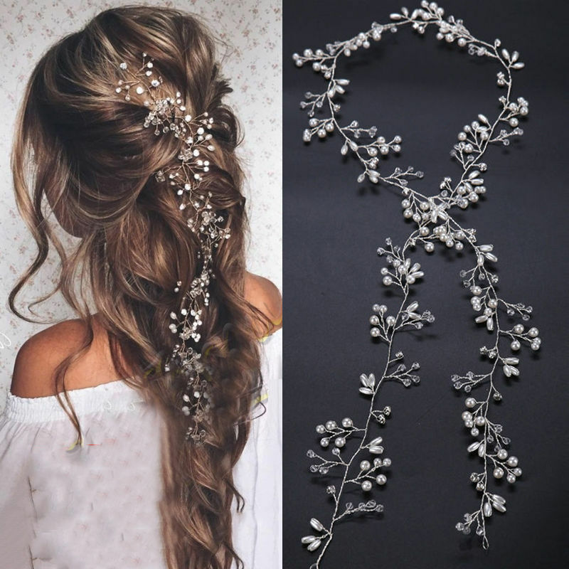 $1.84 • Buy New 35cm Pearl Wedding Hair Vine Crystal Bridal Accessories Diamante Headbands