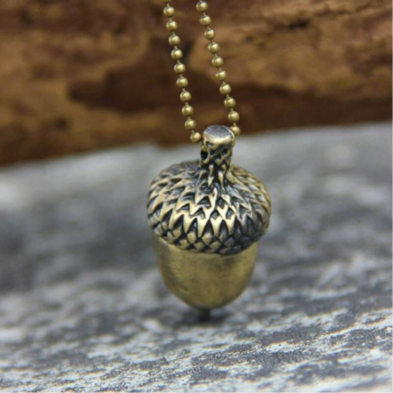 Fashion Women Acorn Necklace Retro Charm Bronze Sweater Chain Necklace Jewelry U • 1.01$