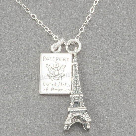 Ct CZ Pendant Necklace Paris The Eiffel Tower 925 Sterling Silver Micro-inlay 1