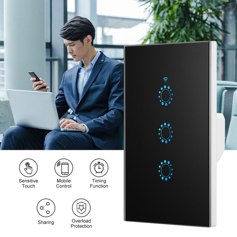 AU24.99 • Buy Smart Home WiFi Touch Light Wall Switch Panel For Alexa Google APP 1/2/3 Gang