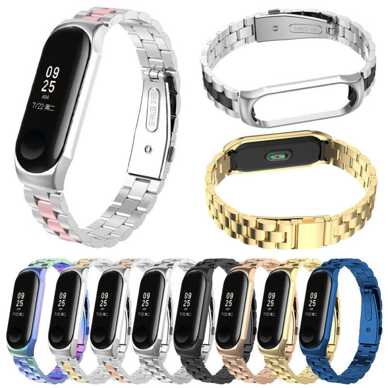$11.99 • Buy For Xiaomi Mi Band 3 /4 Stainless Steel Strap Wrist Watch Band + Frame Bumper