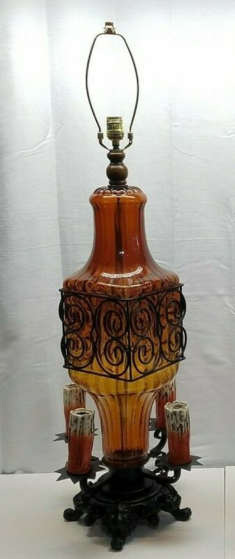 $108.75 • Buy Vintage Gothic Murano Art Glass Wrought Iron Table Lamp Light Chalkware Candle