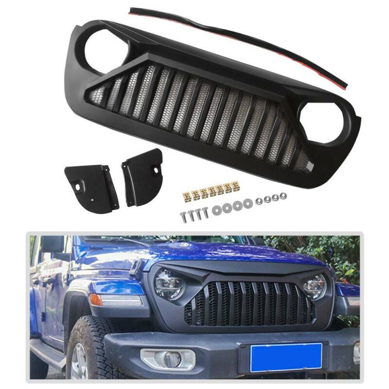 For JEEP Wrangler JL 2018 2019 Matte Black Fashion Front Bumper Grille Grill ABS • 89.86$