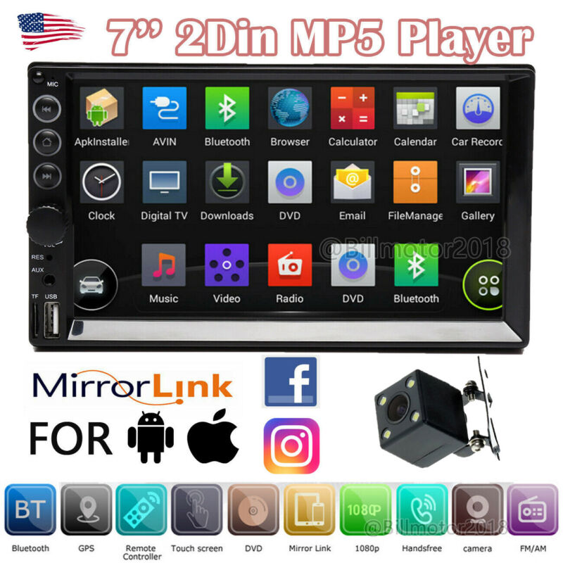$54 • Buy 7'' Double Din Car Stereo Head Unit  Touch MP5 Player USB Radio Backup Camera