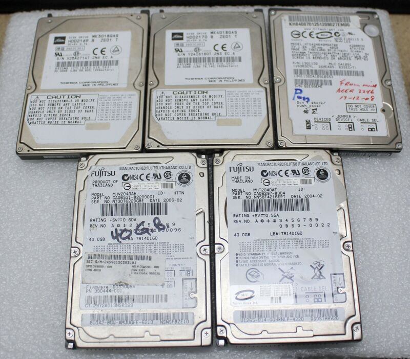 $ CDN100 • Buy Lot Of 5 Assorted 2.5  5400rpm Laptop Ide Hard Drive (30gb To 40gb)