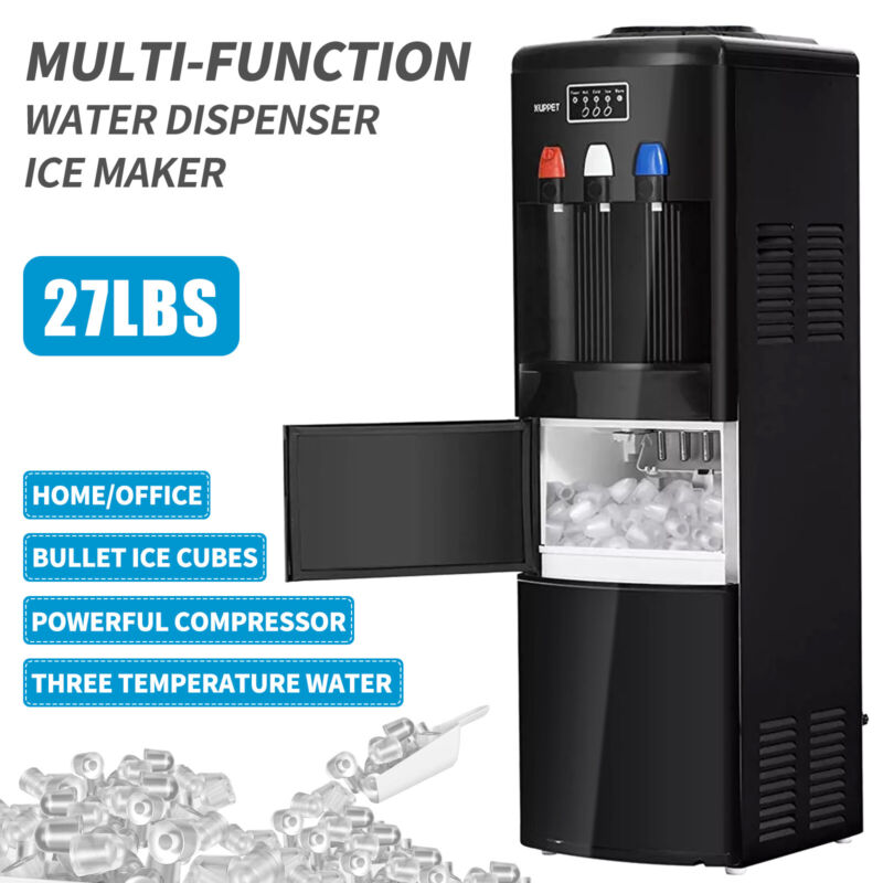 2in1 Electric Hot Cold Water Dispenser W/ Ice Maker Machine Safety Lock Black • 259.90$