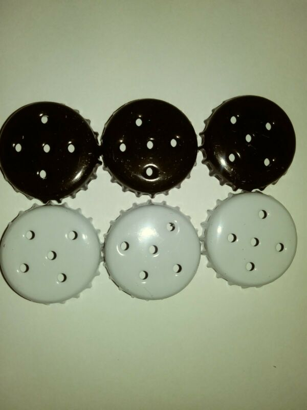 6 Black/White Salt And Pepper Shaker Caps For Soda/Beer Bottles/Aluminum/Variety • 4.95$