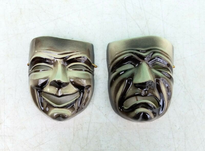 Ceramic Arts Studio Pottery Madison COMEDY & TRAGEDY Theater Mask Wall Plaques • 60$