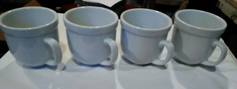 $19.50 • Buy POTTERY BARN  Suppertime Thick White Coffee Mug Set Of 4 Bin 1109