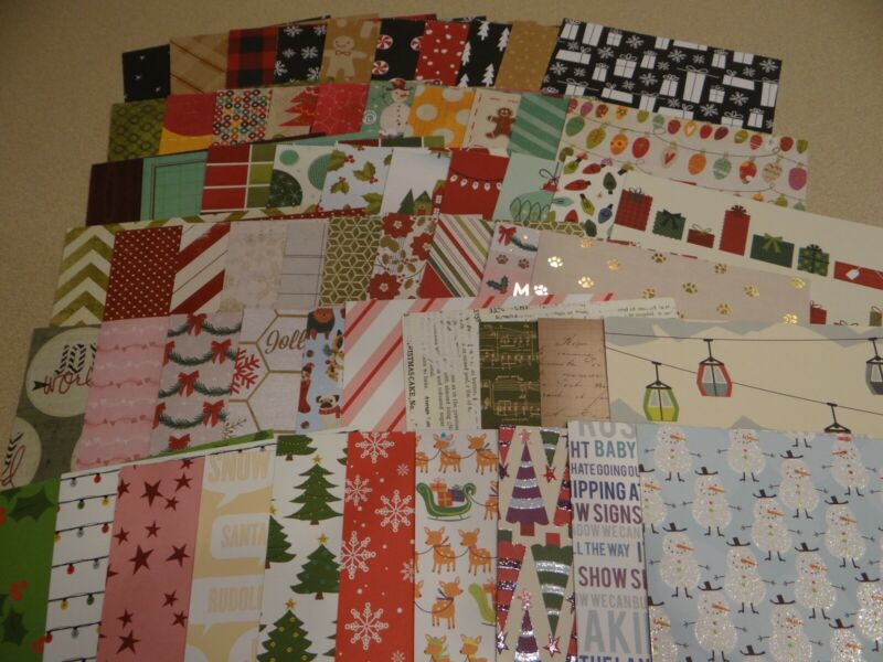 $10.99 • Buy CHRISTMAS SCRAPBOOK PAPER CARD MAKING HUGE LOT 60 PIECES VARIETY  Glitter