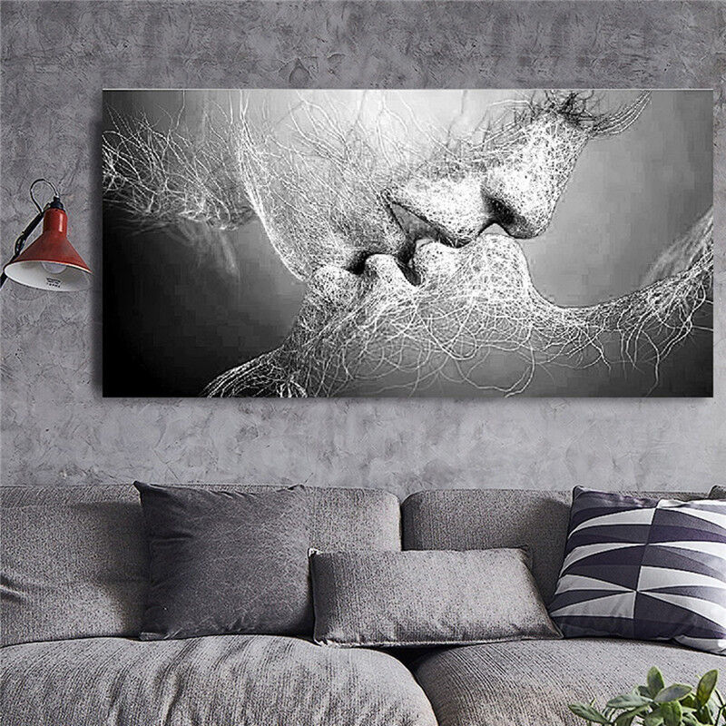 $9.39 • Buy Black & White Love Kiss Abstract Art On Canvas Painting Wall Art Picture Print