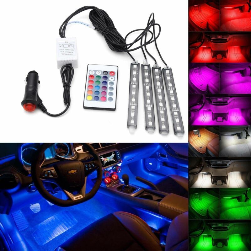 $7.99 • Buy 4x 5050SMD 9 LED RGB Car Strip Light Interior Decorative Colorful Remote Control