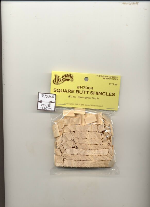 Wood Butt Shingles Half Scale 1:24 Dollhouse Roof Wooden #H7004   • 6.49$