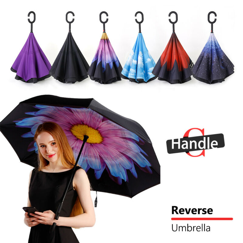 AU14.29 • Buy Windproof Upside Down Reverse Umbrella Double Layer Inside-Out Inverted C-Handle