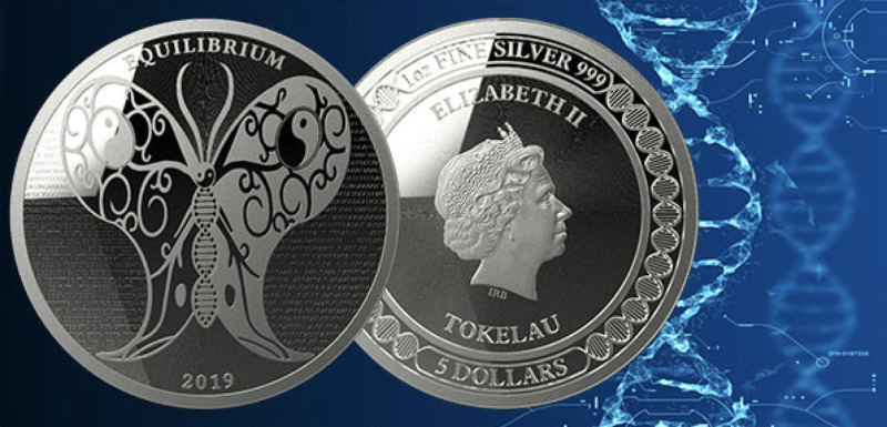 2019 Tokelau Equilibrium Silver Coin – 1 Oz SILVER SCIENCE BUTTERFLY  IN-STOCK!! • 33.45$