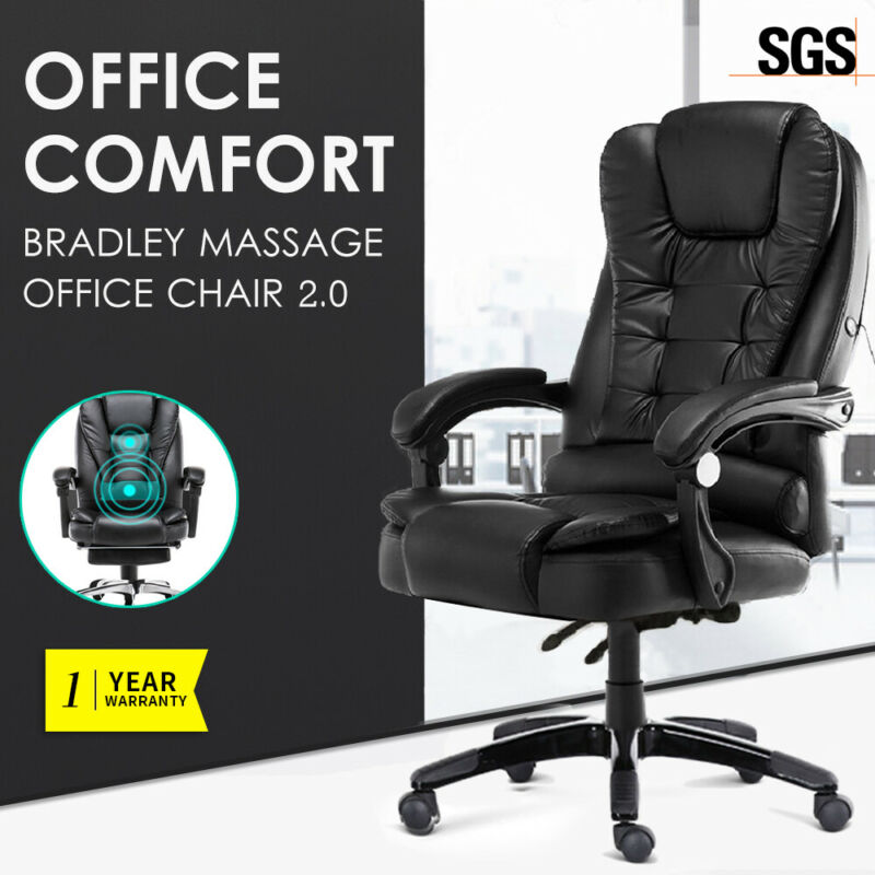 AU112 • Buy Executive Massage Office Chair Premium PU Leather Recliner Computer Gaming Seat