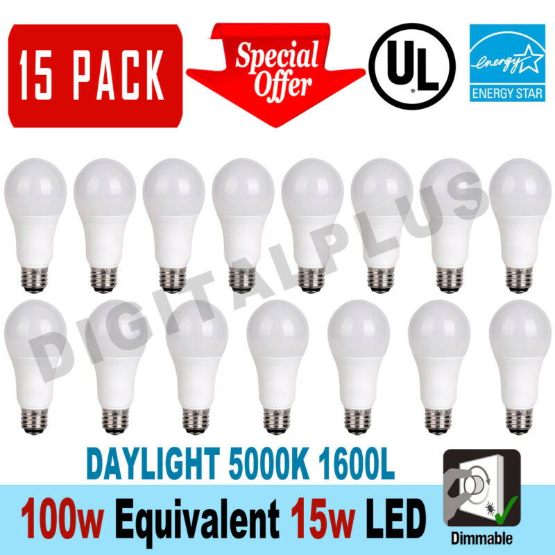 $31.90 • Buy 15 LED Light Bulbs 15W / 100W Replacement 1600L Daylight 5000K A19 Dimmable E26