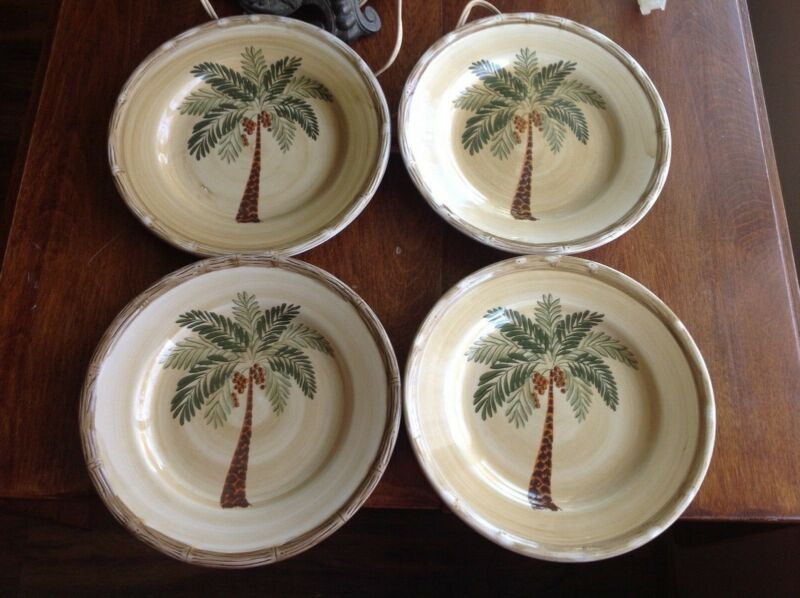 $15 • Buy 4 Home Trends West Palm Tree Bamboo Border Salad Plates - 8