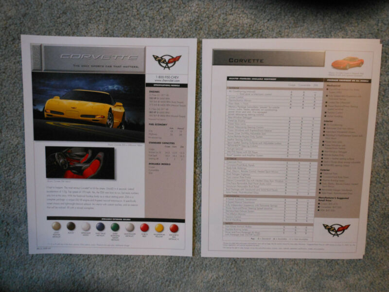 $2.50 • Buy 2001 Corvette Coupe, Convertible, Z06 Facts Sheet