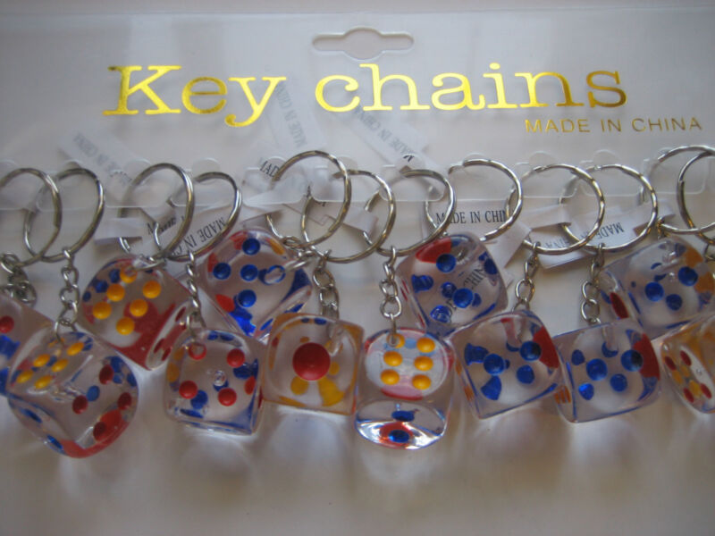 Lot 12 Pc 18mm Dice Key Chains  / Free Shipping • 8.49$