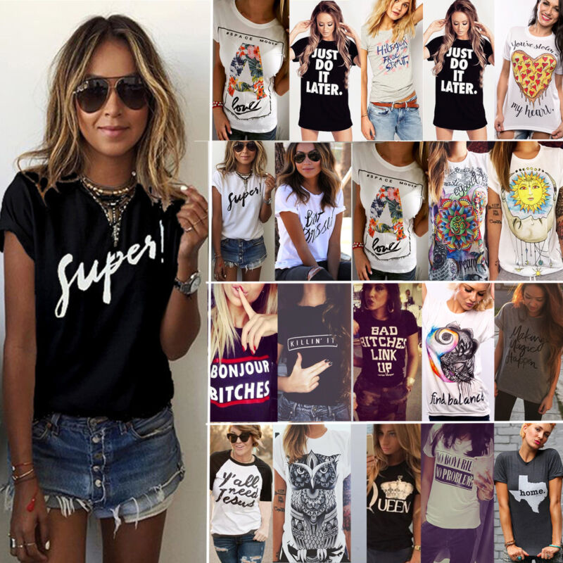 AU9.99 • Buy Womens Summer T-shirt Letter Printed Short Sleeve Casual Tee Shirts Tops Blouse